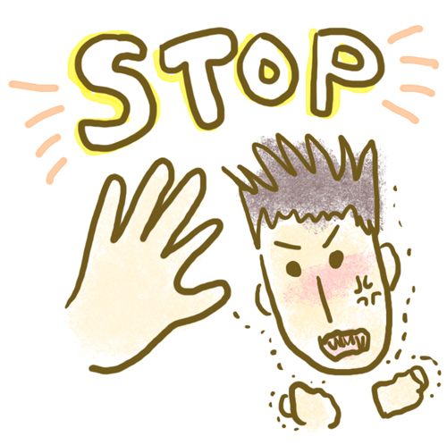 イラスト:ムカつく感情をムカつく手前で制御している手